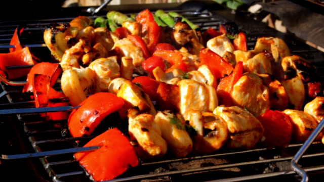 chicken kebabs close up - kebab stock videos and b-roll footage