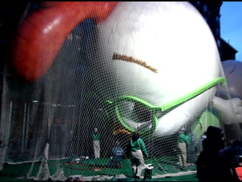 chicken little at the 'inflation eve' macy's 79th annual thanksgiving day parade preparations at 77th street in new york new york on november 23 2005 - chicken wire stock videos and b-roll footage