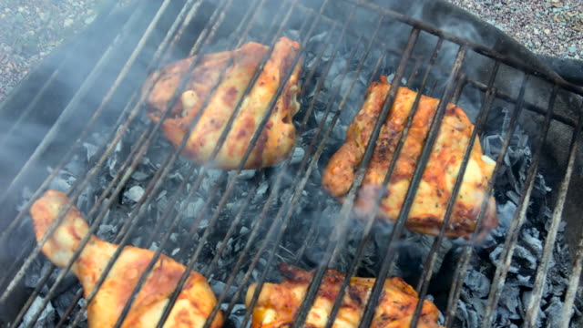 chicken on barbecue grill - barbecue chicken stock videos and b-roll footage