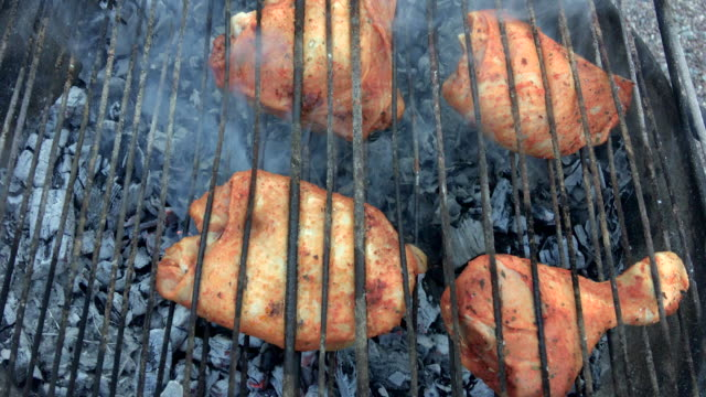 bbq chicken on grill - barbecue chicken stock videos and b-roll footage