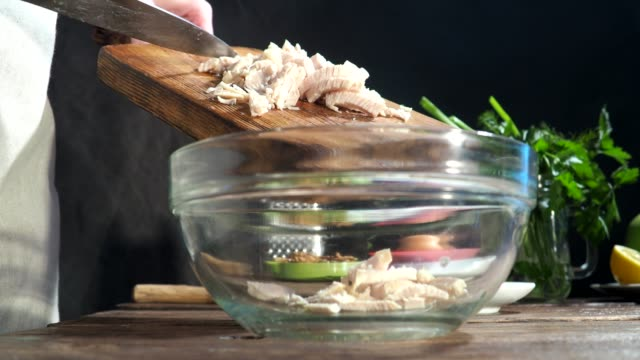chicken salad cooking - cooking utensil stock videos & royalty-free footage