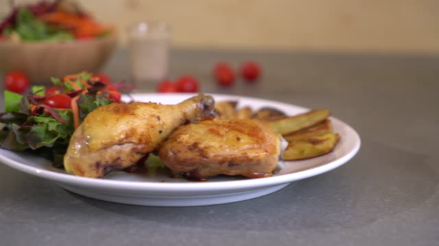 chicken steak with bbq sauce - meal stock videos and b-roll footage
