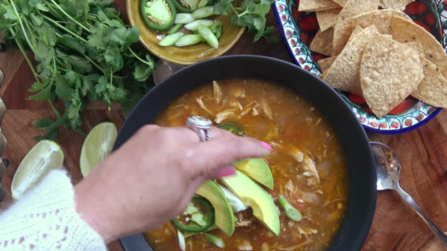 chicken tortilla soup - soup stock videos & royalty-free footage