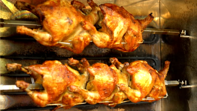 Chickens in a rotisserie.
