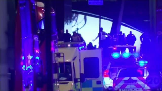 mi5 chief andrew parker says scale of terror threat highest he has seen lib / 362017 ext / night london bridge borough market attack emergency... - イギリス情報局保安部点の映像素材/bロール