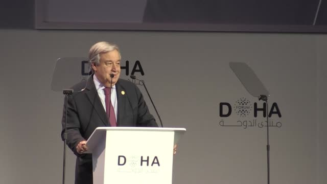 UN chief Antonio Guterres delivers the closing speech at the Doha Forum calling Yemen the worst humanitarian crisis in the world and Nobel Peace...