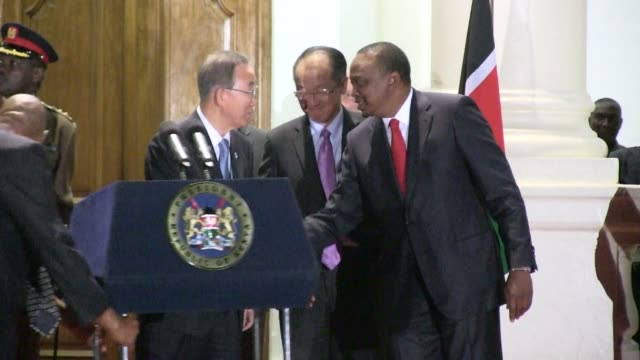 un chief ban ki moon tours kenya as part of efforts to boost development in the horn of africa region meeting with kenyan president uhuru kenyatta... - horn of africa stock videos & royalty-free footage