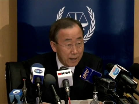 un chief ban kimoon on monday called for greater global support for war crimes prosecutions at the start of a conference aimed at bolstering the... - international criminal court stock videos and b-roll footage