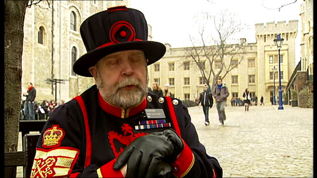 chief beefeater at the tower of london retires john keohane interview sot on how he learnt the tower story keohane putting bunch of keys and lamp on... - digital camera stock videos and b-roll footage