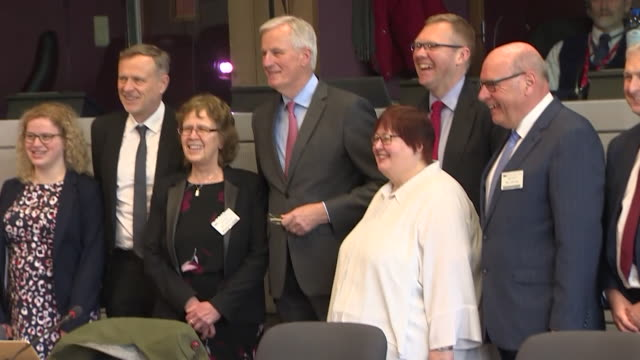 eu chief brexit negotiator michel barnier meeting with uk city leaders in brussels - city of brussels stock videos and b-roll footage