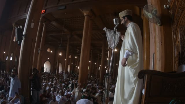 chief cleric mirwaiz umar farooq delivers sermon in kashmir's grand mosque on the last friday of the holy islamic month of ramadan on may 31 2019 in... - grand mosque stock videos and b-roll footage