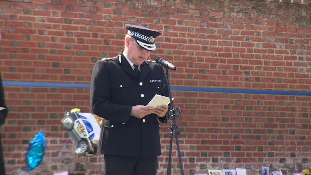 chief constable john campbell of thames valley police reading a eulogy at a memorial service for murdered police officer andrew harper - eulogy stock videos & royalty-free footage