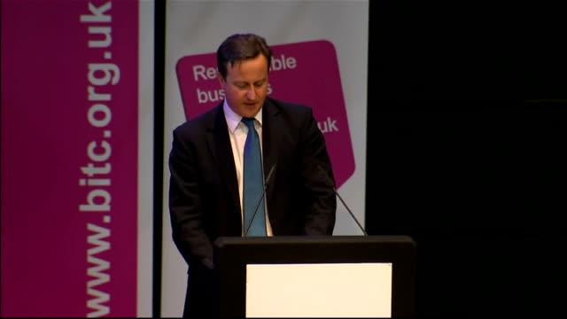 vidéos et rushes de chief executive defends bonus payments; david cameron mp speech to bitc conference sot - we've heard some dangerous rhetroic creep into our national... - prime minister