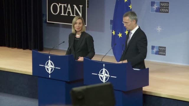 nato chief jens stoltenberg and eu diplomacy chief federica mogherini say that the strategic partnership between the eu and nato is more important... - diplomacy stock videos & royalty-free footage