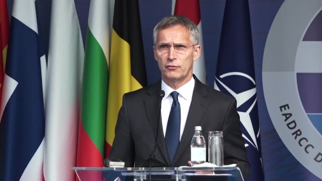 nato chief jens stoltenberg says he hopes serbia is moving beyond the painful memories of the alliance's 1999 bombings hailing a partnership with... - nato stock videos & royalty-free footage