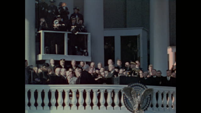 Chief Justice Charles E Hughes administers the Oath of Office to President Roosevelt during his third inauguration