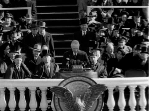 chief justice frederick vinson administering oath of office to us president harry s truman during inauguration ceremony at east portico, us capitol... - oath stock videos & royalty-free footage