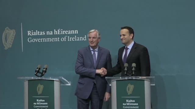 eu chief negociator michel barnier and irish prime minister leo varadkar discuss brexit in dublin amid fears of a possible no deal departure from the... - possible stock videos & royalty-free footage