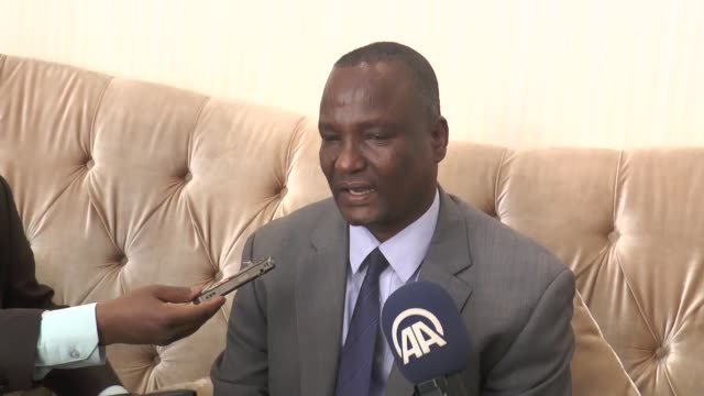 chief negotiator for splm party taban deng gai speaks to media about the consultations between mediators from the intergovernmental authority on... - 2015 stock videos & royalty-free footage