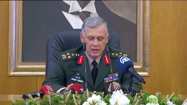 chief of general staff by proxy umit dundar holds a press conference at the ataturk airport after parallel state/gulenist terrorist organizations... - staatsstreich stock-videos und b-roll-filmmaterial