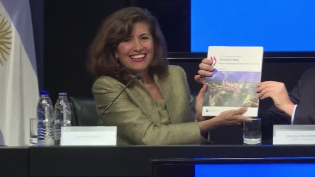 chief of staff gabriela ramos says thursday in buenos aires that argentina could reach a 44% cumulative increase in the gdp per capita in 10 years by... - oeec video stock e b–roll