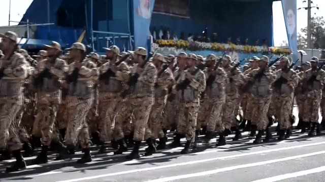 chief of the general staff of iran's armed forces general mohammad hossein bagheri delivers a speech during a military c marking the 36th anniversary... - military parade stock videos & royalty-free footage