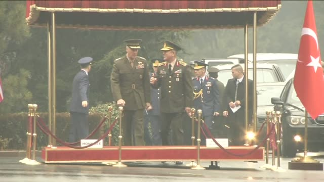 chief of the general staff of the turkish armed forces hulusi akar welcomes chairman of the us joint chiefs of staff joseph dunford as turkish honor... - joint chiefs of staff stock videos and b-roll footage