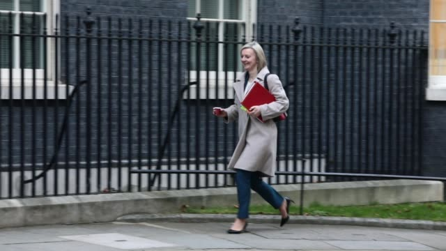 Chief Secretary to the Treasury Elizabeth Truss arrives as government ministers attend the first Cabinet meeting of the year at 10 Downing Street on...