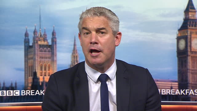 """chief secretary to the treasury, stephen barclay saying coronavirus restrictions """"have health and economic consequences"""" - """"bbc news"""" stock videos & royalty-free footage"""