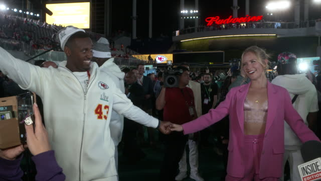 chiefs players having fun with fans and media at the super bowl opening night presented by bolt24 at marlins park on january 27, 2020 in miami,... - celebrities stock videos & royalty-free footage