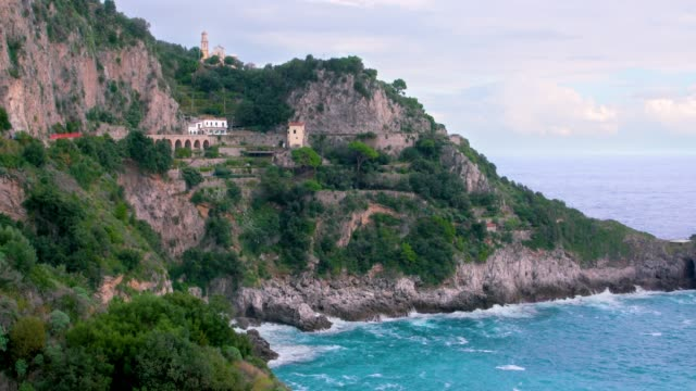 chiesa san pancrazio martire, church & sea cliffs, amalfi coast, province of salerno, italy - cliff stock videos & royalty-free footage