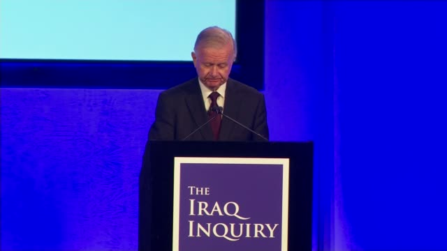 london qeii centre int sir john chilcot press conference delivering statement on findings of iraq inquiry sot we have concluded that the uk chose to... - weapons of mass destruction stock videos & royalty-free footage
