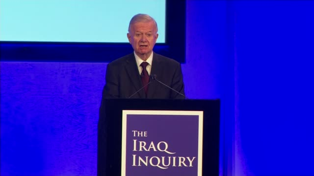 london tony blair from house and into car/ centre int sir john chilcot press conference delivering statement on findings of iraq inquiry sot we have... - tony blair stock-videos und b-roll-filmmaterial