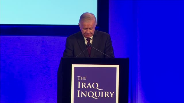 sir john chilcot statement england london qeii centre int sir john chilcot along onto stage and statement sot introduces chilcot report questions of... - weapons of mass destruction stock videos & royalty-free footage