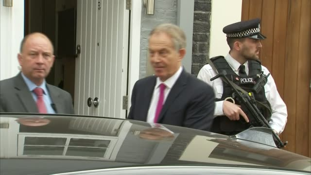 Tony Blair doorstep ENGLAND London EXT Tony Blair departs house and into car / car away
