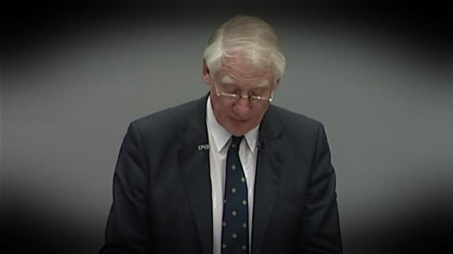 examining britain's biggest intelligence failure in decades lib / tx lord butler press conference sot did not have significant if any stocks lord... - weapons of mass destruction stock videos & royalty-free footage