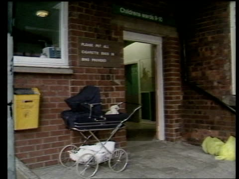 LIB / TTT LMS Sign as entrance to outpatients dept in b/g MS Pram parked at entrance to childrens ward ZOOM IN 'Childrens ward 910' sign over door /...