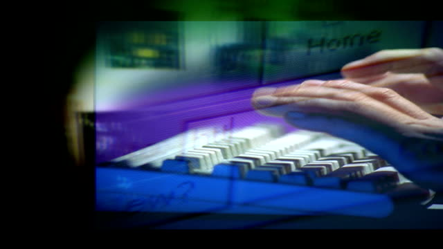 child benefit records security breach: junior official and inland revenue cost-cutting blamed; graphicised sequence hands typing / hand using mouse /... - itv lunchtime news stock-videos und b-roll-filmmaterial