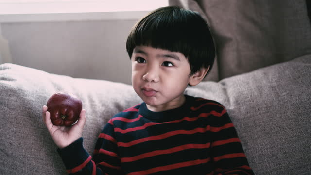 stockvideo's en b-roll-footage met de jongen die van het kind appelen eet - alleen jongens