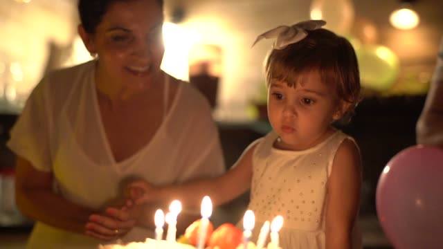 child celebrating her birthday party at home - candle stock videos & royalty-free footage