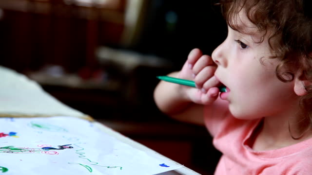 child chewing the pencil - pen stock videos & royalty-free footage