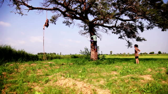 Niño trepando sobre la cuerda y el tronco del árbol