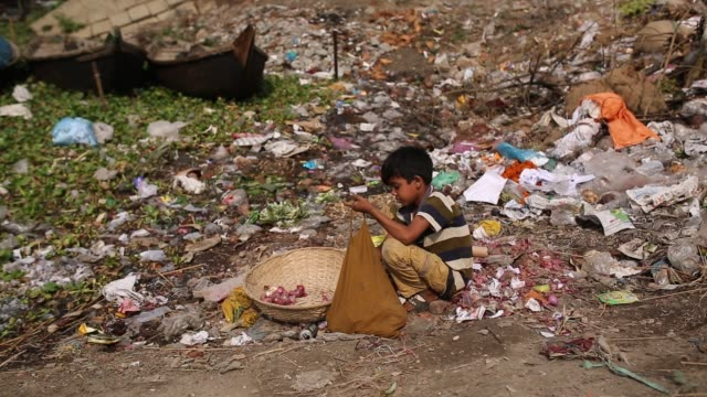 child collect usable vegetable from waste near buriganga river in dhaka , bangladesh. the chemical waste of mills and factories, household waste... - finance and economy stock videos & royalty-free footage