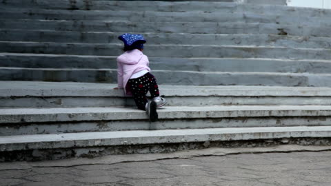 child crawling up stairs - steps and staircases stock videos & royalty-free footage