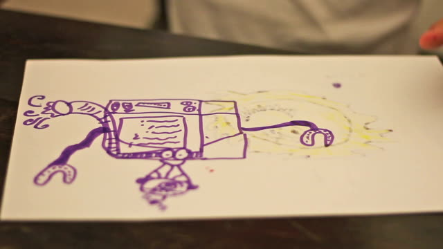 child drawing a robot - school child stock videos & royalty-free footage
