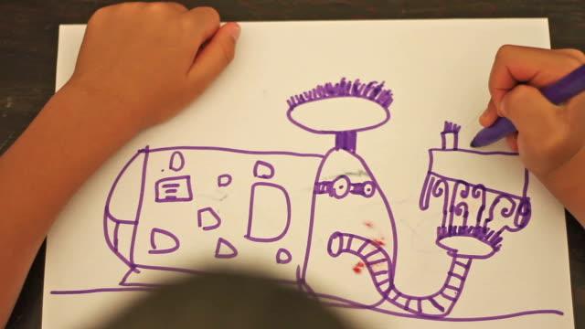vídeos y material grabado en eventos de stock de niño dibujo de un robot - imagination