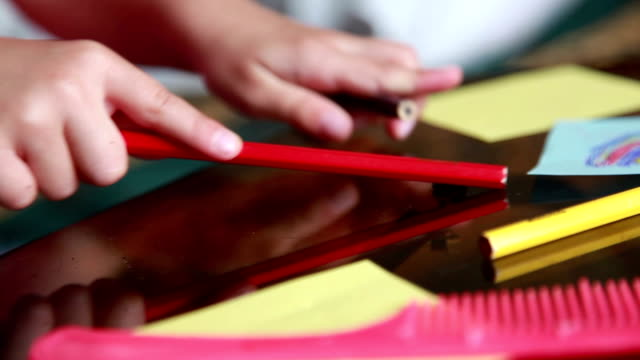 child drumming with pencils on the glass table - adult imitation stock videos and b-roll footage