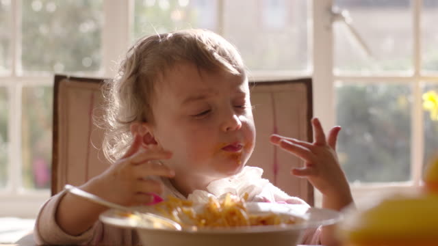 child eating lunch - spaghetti stock videos & royalty-free footage