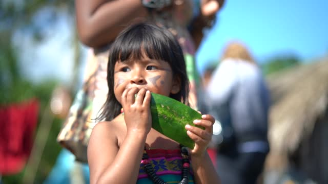 child eating watermelon - south american culture stock videos & royalty-free footage