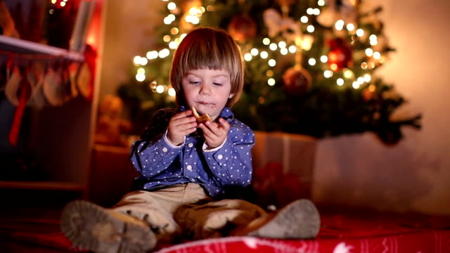 child enjoying christmas night at home - confectionery stock videos & royalty-free footage